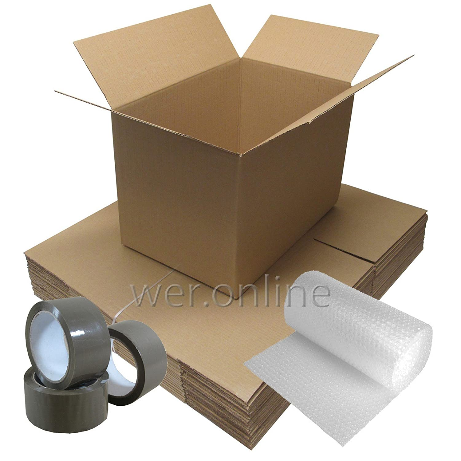House Removal Moving Pack - 25 Cardboard Boxes SW, Tape, and 10M Bubble Wrap … and 10M Bubble Wrap ... W E Roberts (Packing Supplies) Ltd