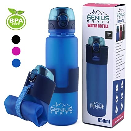 FOLDABLE WATER BOTTLE - Collapsible, Portable, Silicone Drink Bottle for  Hiking, Sports   42007f0bed