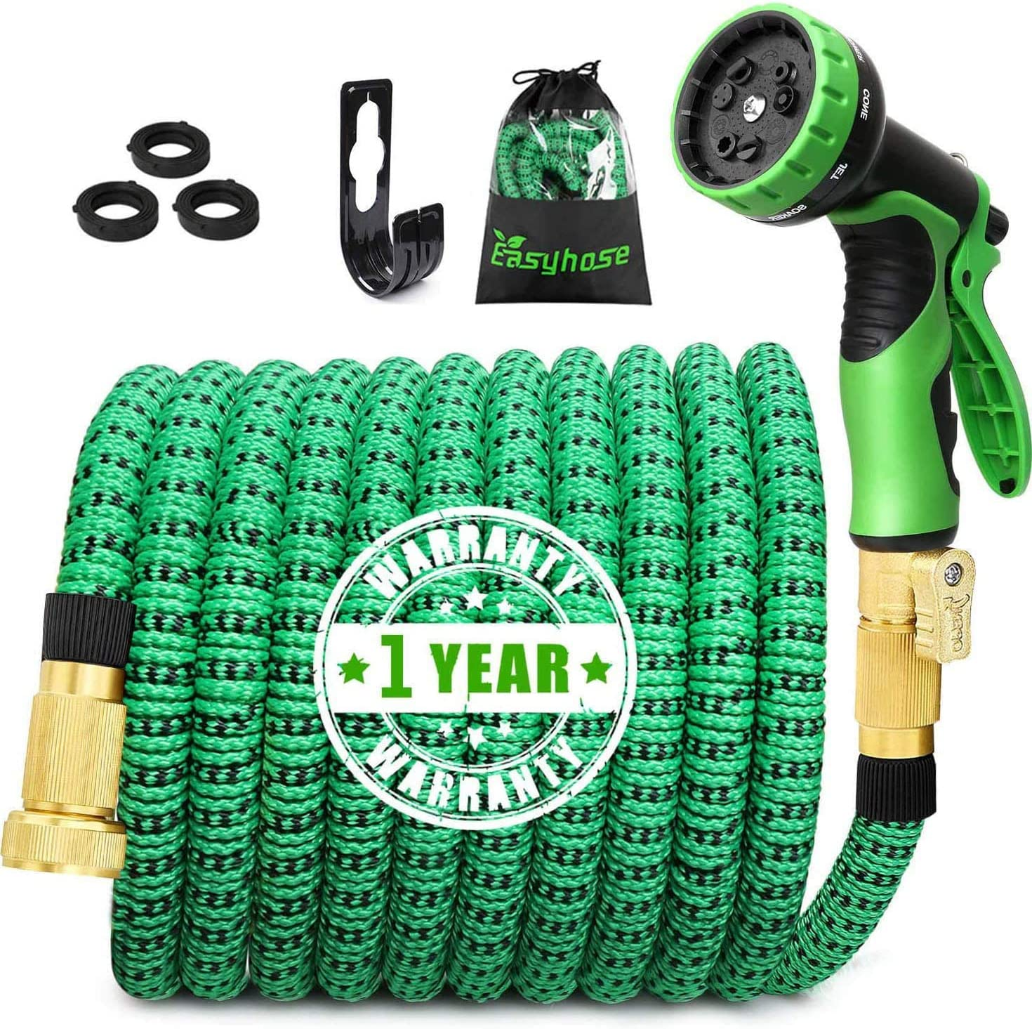 EASYHOSE Garden Hose 25FT/50FT/100FT, Expandable Water Hose with Extra-Strong Brass Connector,9 Function Spray Nozzle, Flexible Hose with Enhanced Fabric,Superior Strength 3750D(100FT)