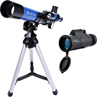 MaxUSee Kids Telescope 400x40mm with Finder Scope for Kids & Beginners + Portable 10X42 HD Monocular with BAK4 Prism FMC…