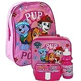 Nickelodeon® Paw Patrol Official Kids Children School Travel Rucksack Backpack Bag, Lunchbag Lunch Bag Case with Sandwich Box and Drinking Bottle Set for Kids Children (Pink)