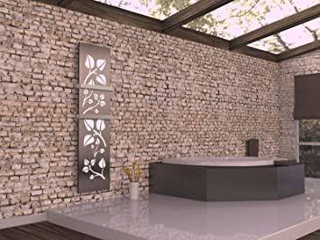 HxB: 180 x 47 cm Badheizk/örper Design Leaves 3 metallic Made in Germany // Top-verarbeiteter Bad und Wohnraum-Heizk/örper wei/ß // dunkelgrau 1118 Watt Marke: Szagato Mittelanschluss