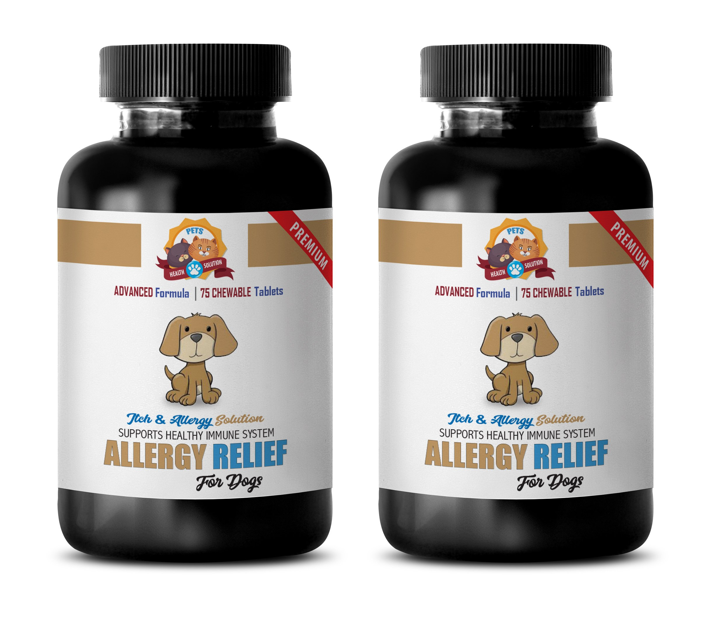 dog scratching relief - PREMIUM DOG ALLERGY RELIEF - ITCH AND IMMUNE SYSTEM SOLUTION - TREATS - nettle for dogs - 150 Treats (2 Bottle)