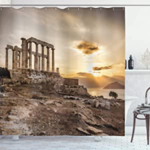 Ambesonne Pillar Shower Curtain, Greek Building Poseidon at The Sunset Sea and The Cloudy Sky Digital Image Print, Cloth Fabric Bathroom Decor Set with Hooks, 70