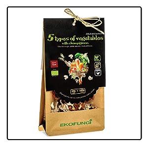 Ekofungi Premium Mix Dehydrated Mushrooms and 5 Types of Veggies 100% Organic Certified Air Dried Super Foods Non-GMO Vegan Friendly Gluten Free Antioxidant Raw Wholefood Dietary Supplement.