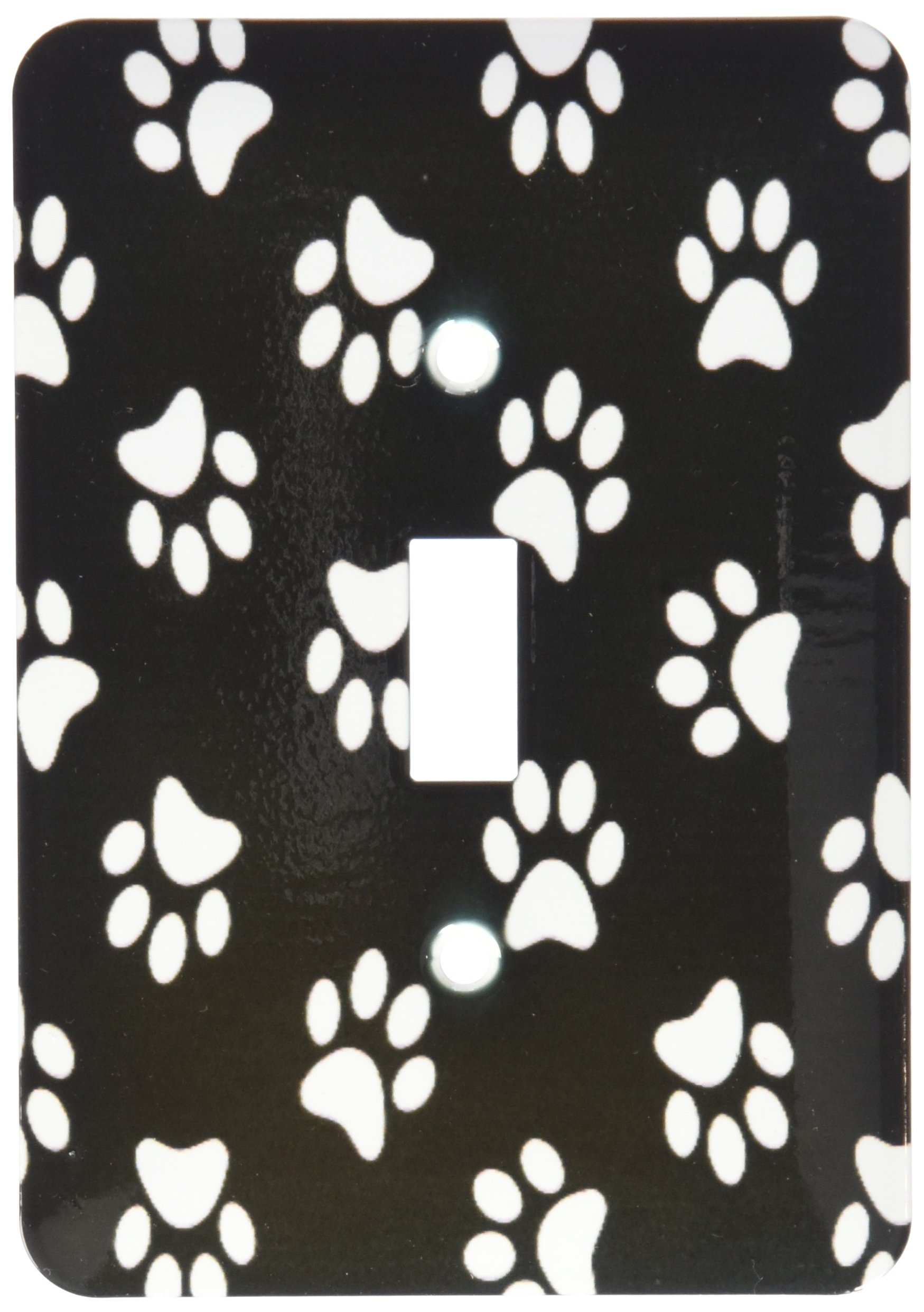 3dRose lsp_161522_1 Black & White Paw Print Pattern Cute Cartoon Animal Egg Dog or Cat Footprints Single Toggle Switch
