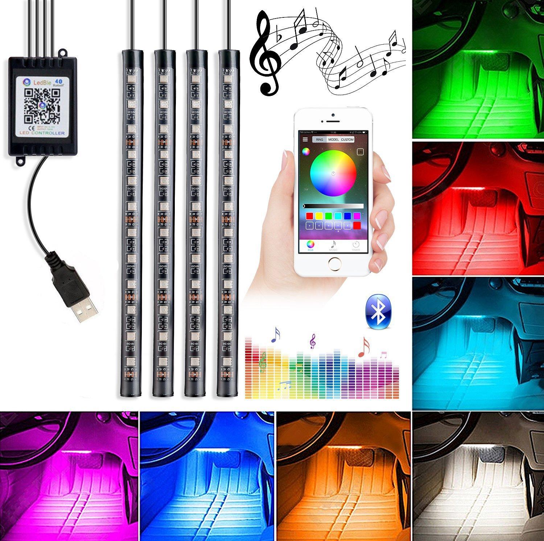 Car Interior Lights, 4Piece DC5V 48LEDs USB Auto LED Atmosphere Decor Strip Lights Multi-color Music RGB Under Dash Lighting Kit, With Sound-activated, APP Control