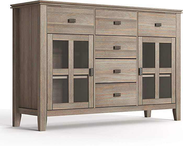 SIMPLIHOME Artisan Solid Pine Wood 54 inch Contemporary Sideboard Buffet Credenza in Distressed Grey features 2 Doors, 6 Drawers and 2 Cabinets with Large storage spaces