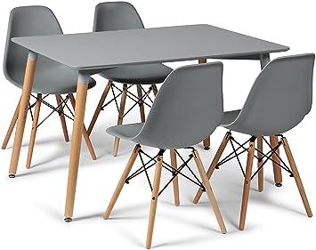 Your Price Furniture Grau Eiffel Designer Esstisch Set 4 Stühle Und 120 X  80 Cm Kleiner