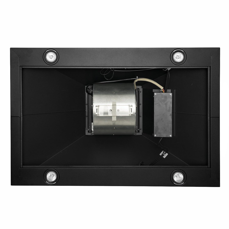AKDY 30 Island Mount Black Finish Stainless Steel Touch Panel Kitchen Range Hood Cooking Fan