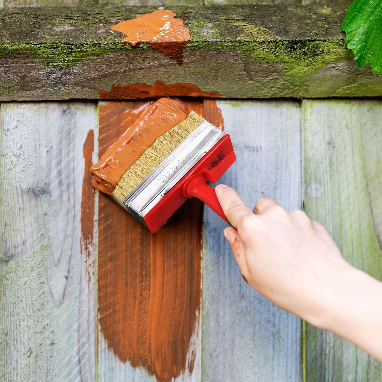 2 St/ücke Schuppen Zaun Pinsel Decking Holz Block Fleck Pinsel 120 mm Breit