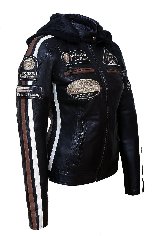 Nero Urban Leather Giacca Moto da Donna con Imbottitura Protettiva