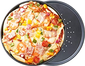 OJelay Pizza Pan with Holes 11.5 Inch 2 Pack Perforated Pizza Crisper Nonstick Round Pizza Baking Tray