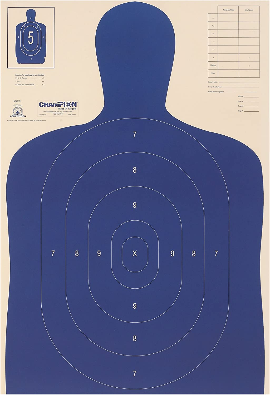Champion Police Targets 40730 Police Silhouette B-27 E
