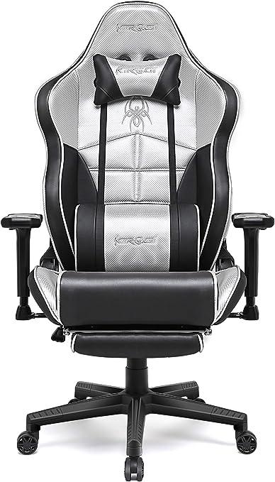 Kirogi Chaise Gaming, Chaise Gamer avec Repose Pieds, Chaise de Bureau Ergonomique, Chaise de Jeu PC Inclinable pour Adultes, Chaise de Bureau Haute