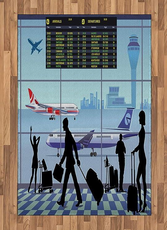 Alfombra de área de Aeropuerto, Aviones y Tabla de Vuelo con ...