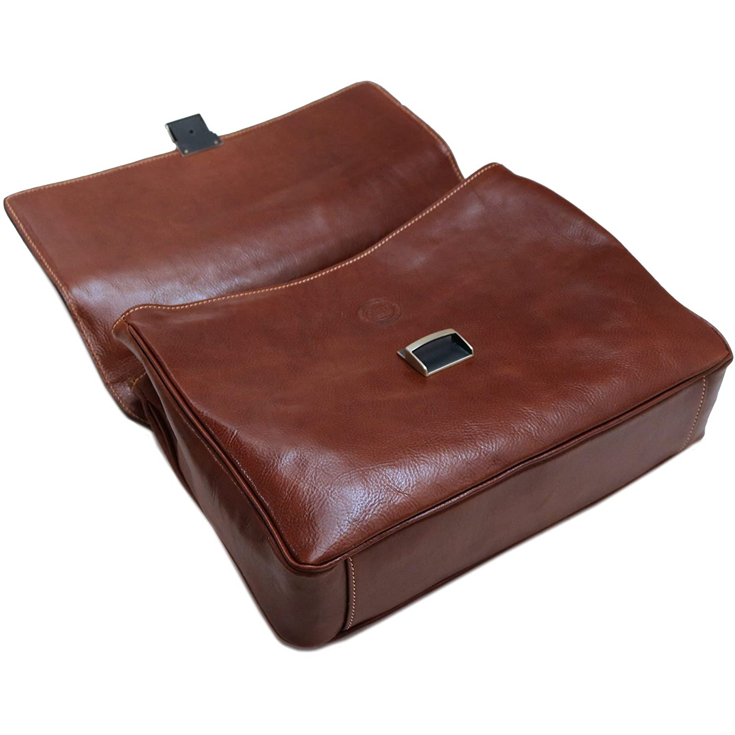 Cenzo Leather Laptop Briefcase Messenger Bag in Brown