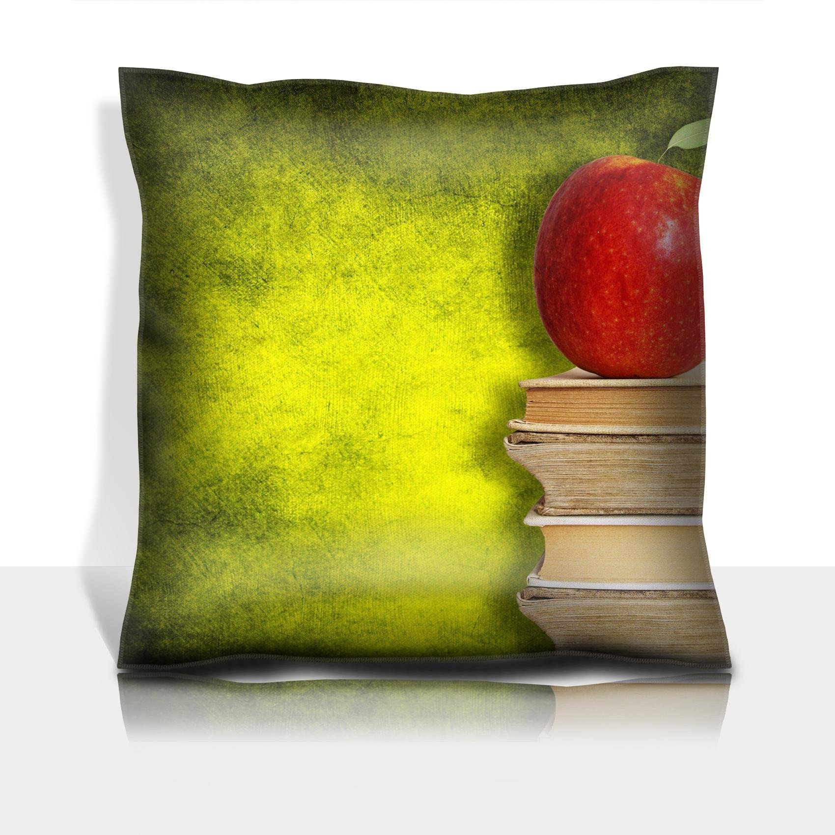 Liili Throw Pillowcase Polyester Satin Comfortable Decorative Soft Pillow Covers Protector sofa 16x16, 1pack back to school concept red apple on stack of books against painted wall Photo 5316