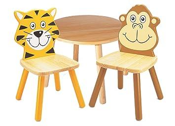 Outdoor Küche Holz Kinder : Pintoy holz kinder möbel set runder tisch mit stühlen tiger