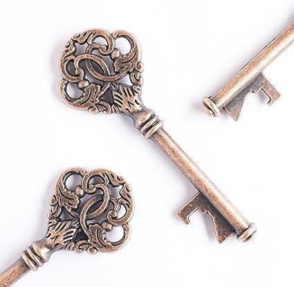 100 Skeleton Key Pendants Wedding Keys Vintage Style Keys Antiqued Copper BULK