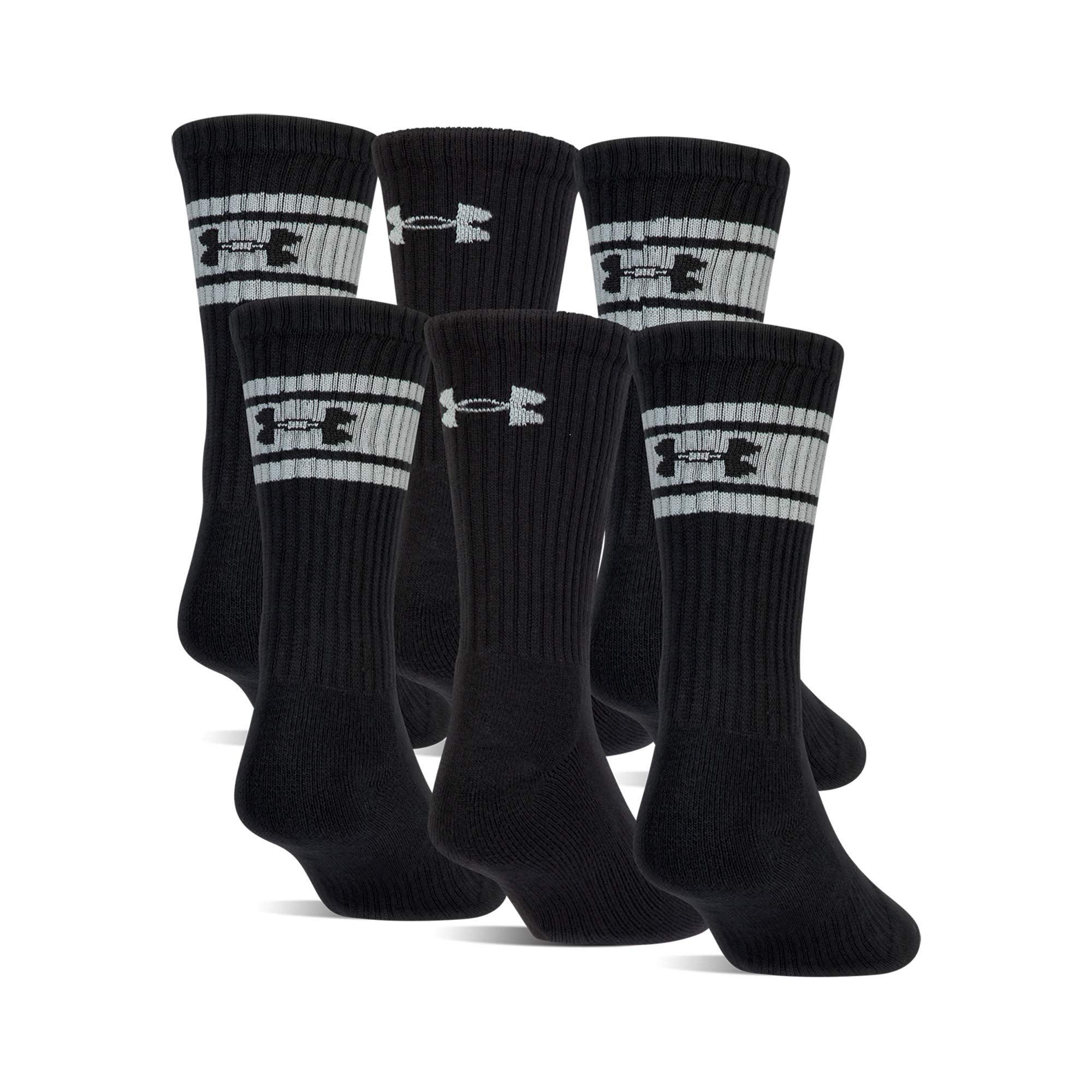 Under Armour Boys Au Youth Charged Cotton 2.0 Crew Socks (Pack 6), Black/White, Youth Large by Under Armour
