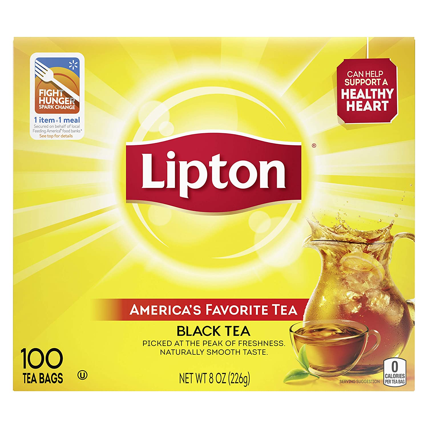 Lipton Black Enveloped Hot Tea Bags Made with Tea Leaves Sourced from Rainforest Alliance Certified Farms, 100 count, Pack of 10
