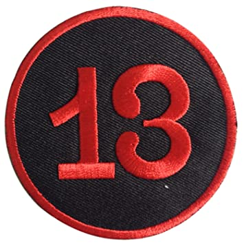 Lucky 13 Thirteen Biker Punk Number 13 Iron on Patches Embroidered Black 3  X 3 Inches