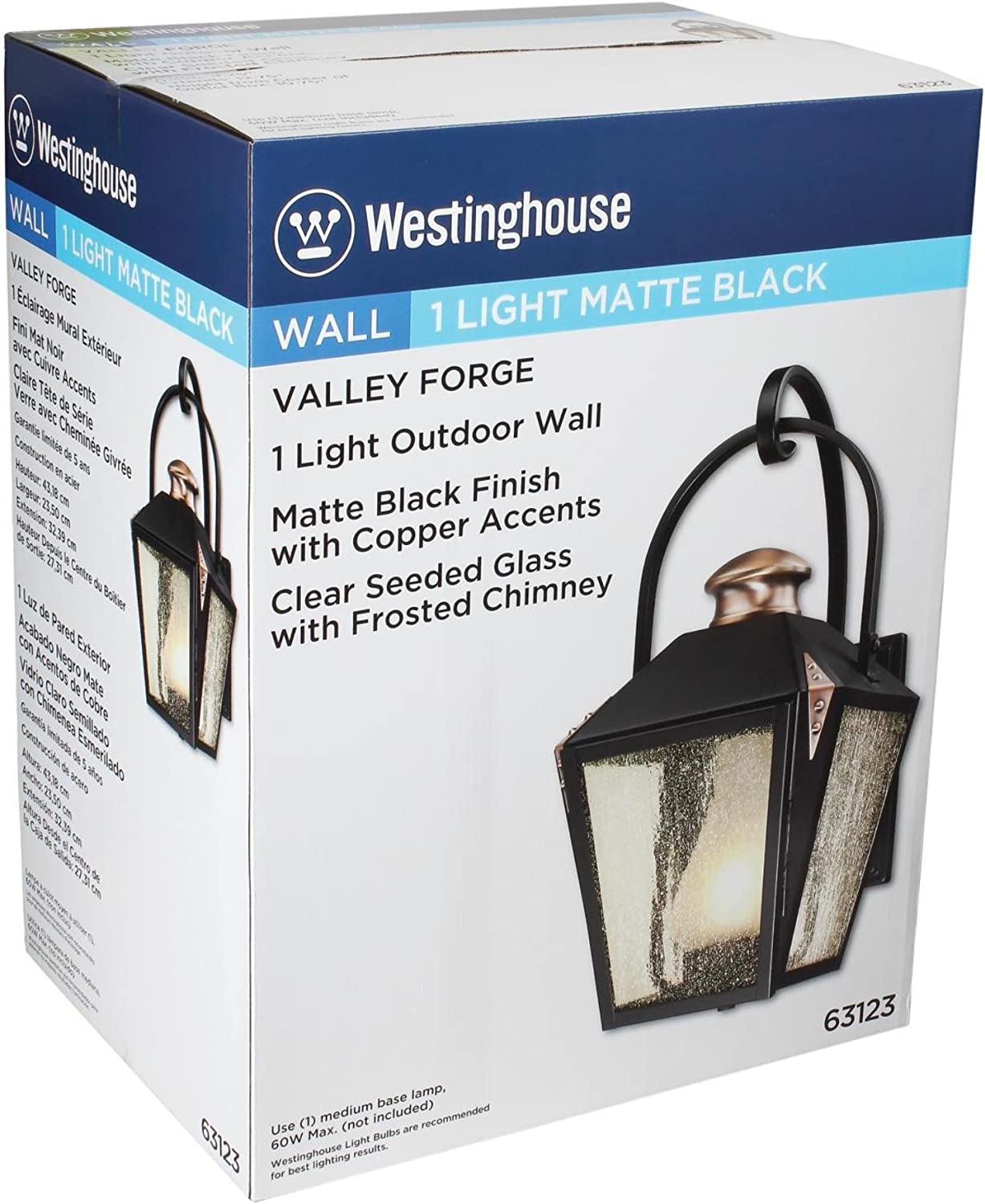 Westinghouse Lighting 6321500 Valley Forge Two-Light Outdoor Wall Lantern Oil Rubbed Bronze Finish with Clear Seeded Glass