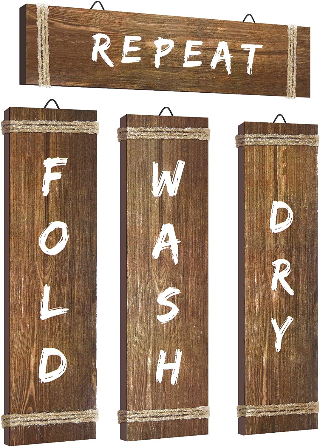4 Pieces Laundry Room Decor Home Vintage Wooden Decoration Rustic Farmhouse Laundry Sign Wooden Laundry Room Decoration Retro Wash Wall Art for Home Hanging Decor Door Wall, 12 x 3 x 0.2 Inch