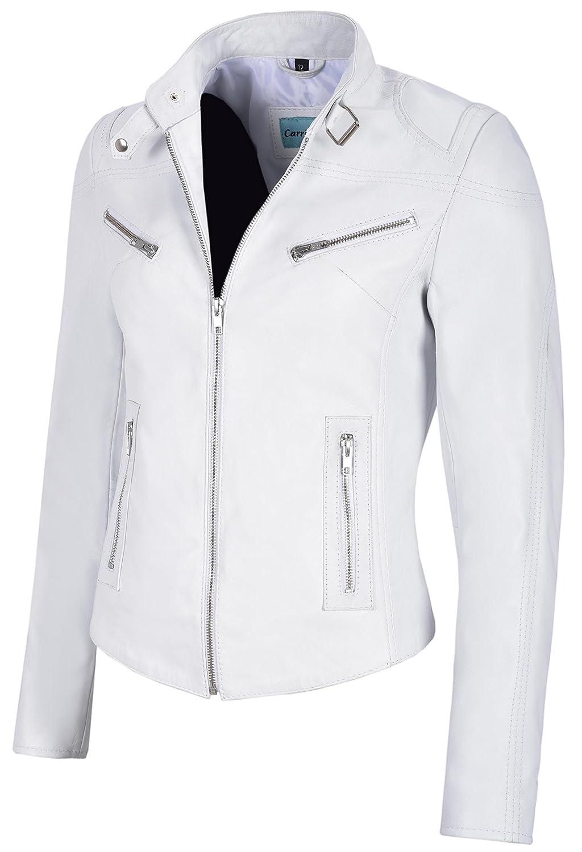 Speed Ladies Real Leather Jacket White Napa Cool Retro Biker Style SR-01 at Amazon Womens Coats Shop