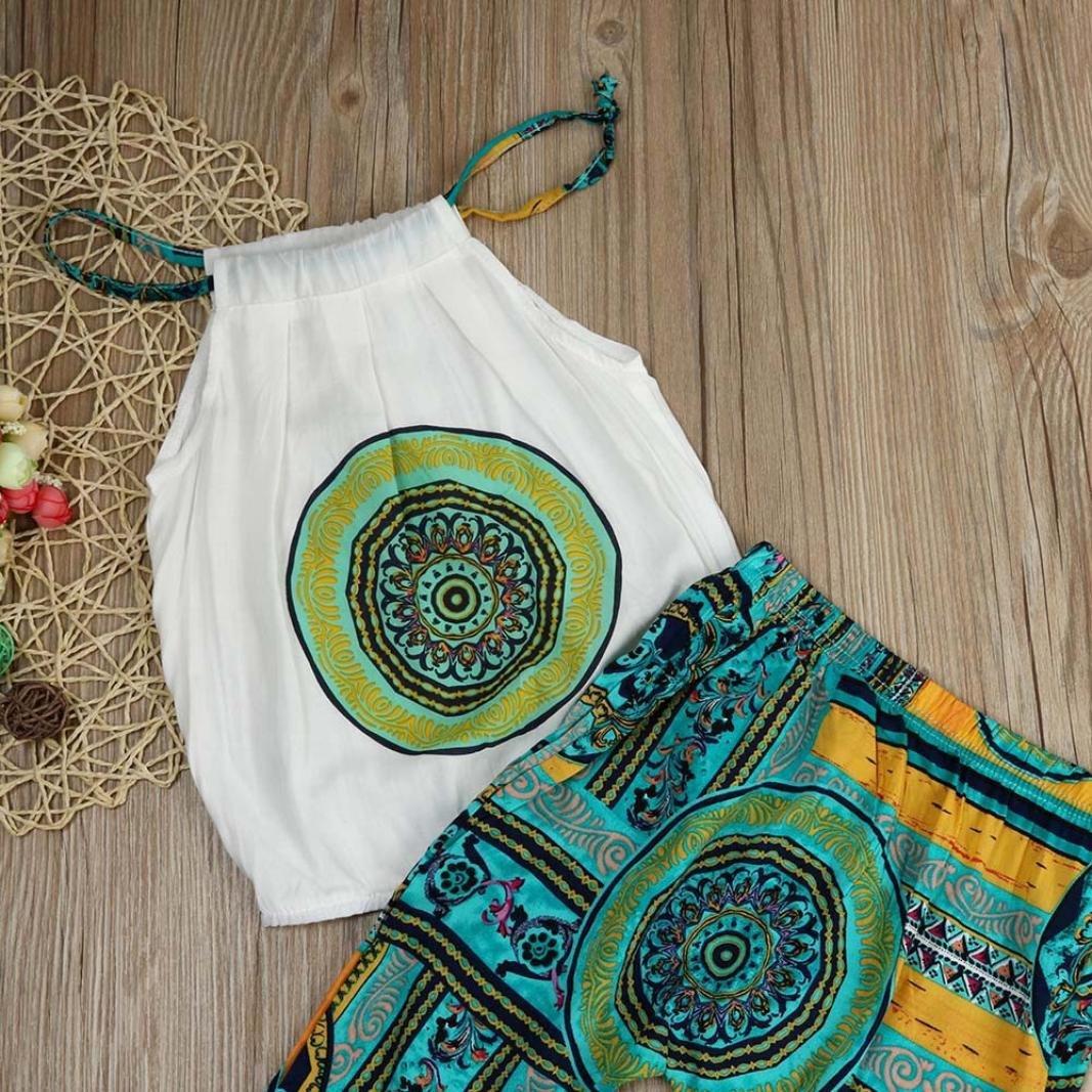 Pantaloni Outfits Set SamMoSon 2Pcs Bambini Set Bimbo Bambino Bambine Neonato Infantile Bambino Ragazzo Ragazza Stampa Fionda Pantaloni Set Maglietta