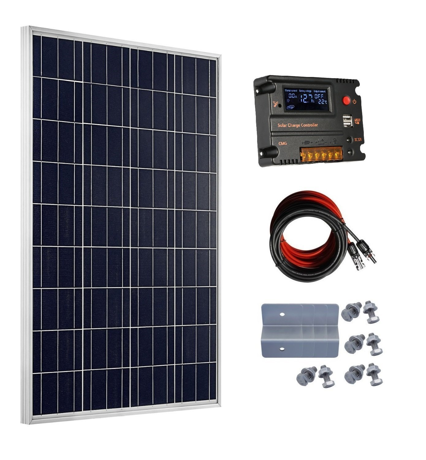ECO-WORTHY 12 Volt 100 Watt Monocrystalline Solar Starter Kit: 1pc 100W Mono Solar Panel + 20A LCD Solar Controller + 30Ft Solar PV Cable with MC4 Connectors + Z Mounting Brackets L02M100-LCD-1
