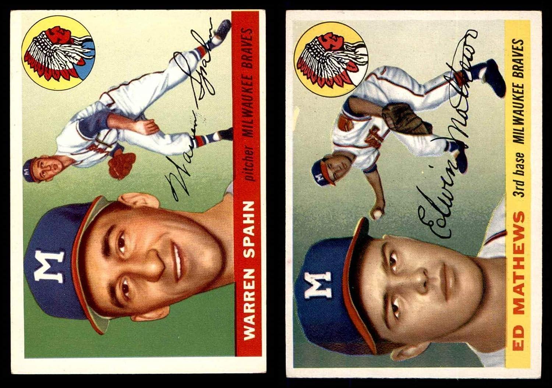 1955 Topps Milwaukee Braves Team Set Milwaukee Braves (Baseball Set) Dean's Cards 4.5 - VG/EX+ Braves