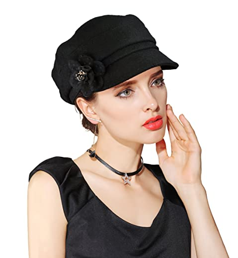 4690b2a3c4f5e EINSKEY Womens Visor Beret newsboy Cap Wool Felt Cloche With Flower Cabbie  Hat For Ladies Girls