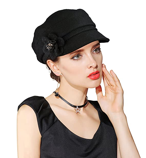 f577c5750e316 EINSKEY Women s Winter Hat Newsboy Cap Wool Felt Cloche Hat Flower ...