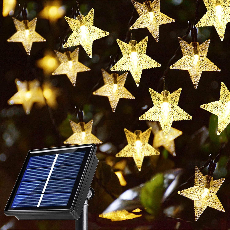 55Ft 120LEDs Warm White Solar Star String Lights 8-Mode, Outdoor Waterproof Decorations Solar Powered Lights for Ramadan, Gazebo, Pergola, Balcony, Umbrella, Outside Christmas Tree Decor