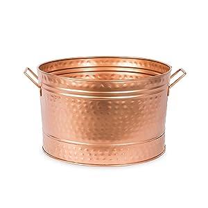 Achla Designs C-50C CopperTub Round Hammered Copper Plated Galvanized Tub