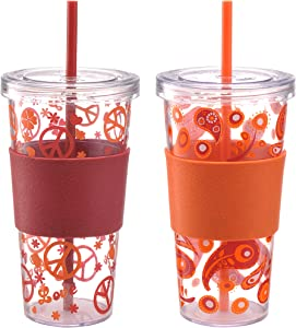 Design for Living Single Wall Iced Beverage Cups (Set of 2), 24 oz, Assorted