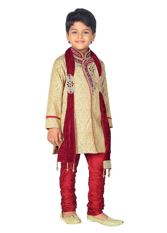 Ahhaaaa Kids Ethnic Indian Handwork Sherwani and Breeches Set With Dupatta Set for Boys