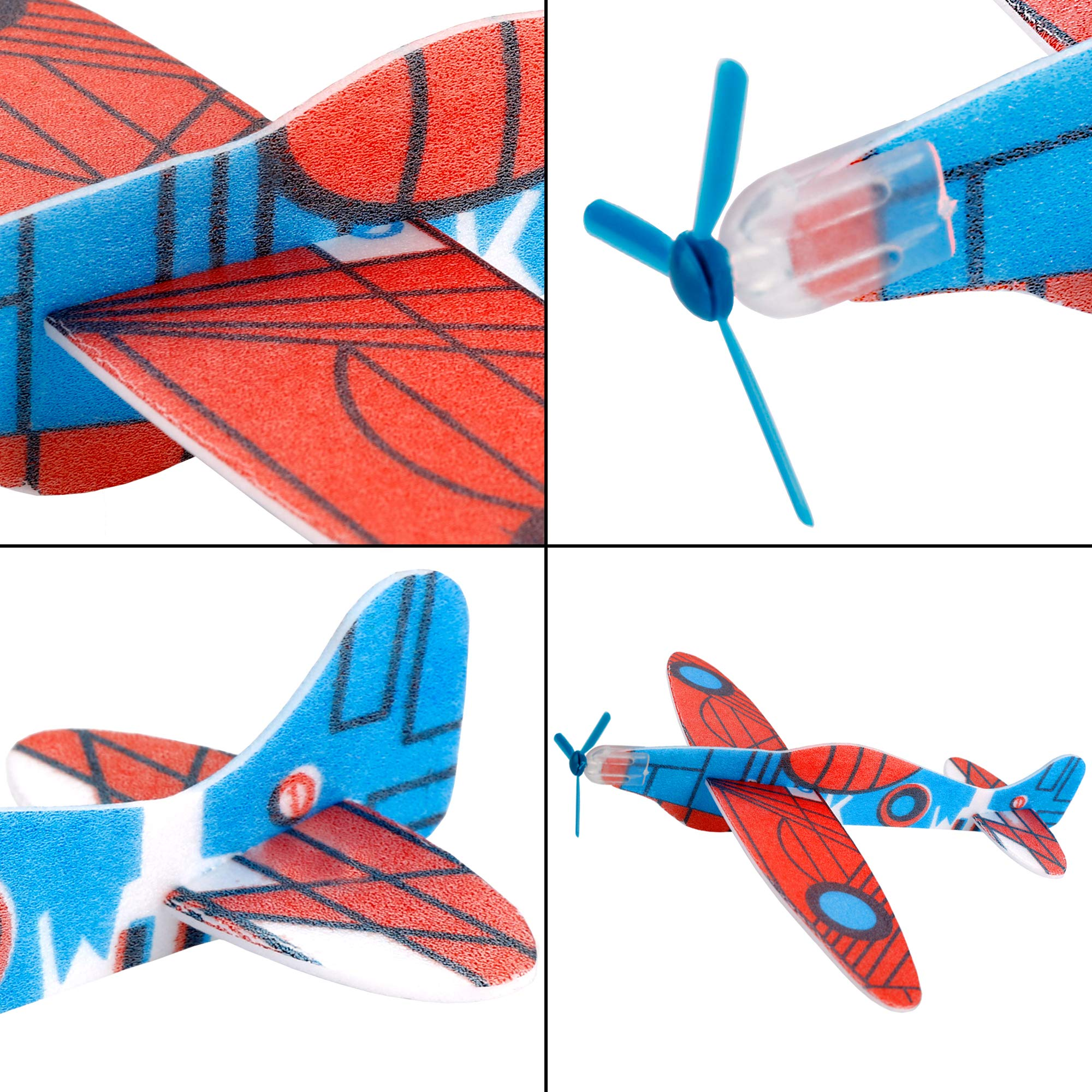 UPINS 48 Pcs 8'' Flying Glider Plane,6 Different Designs by UPINS (Image #2)