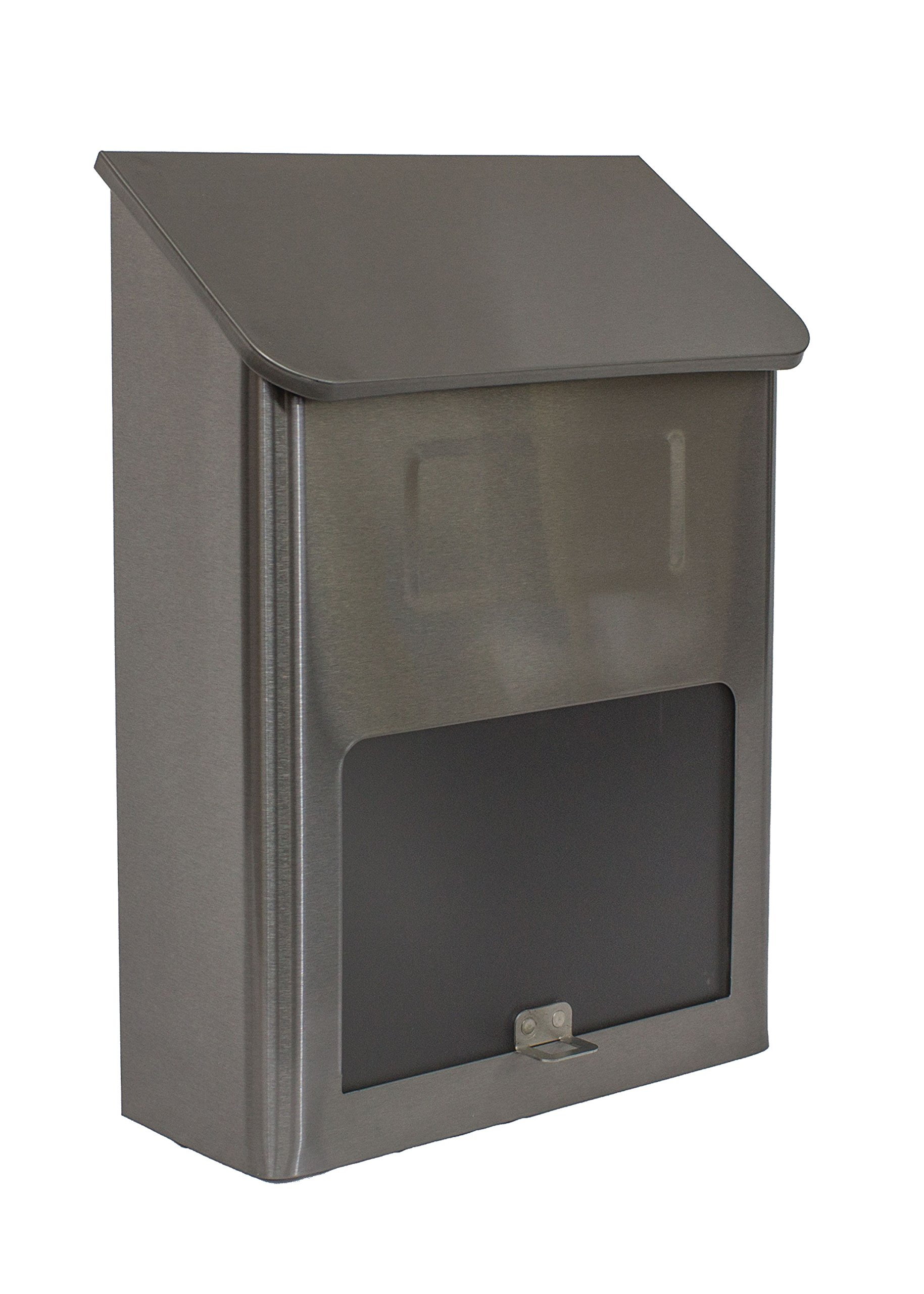 Qualarc WF-L002 Metros Rectangular Stainless Steel Wall Mount Mailbox with Window, Silver/Black