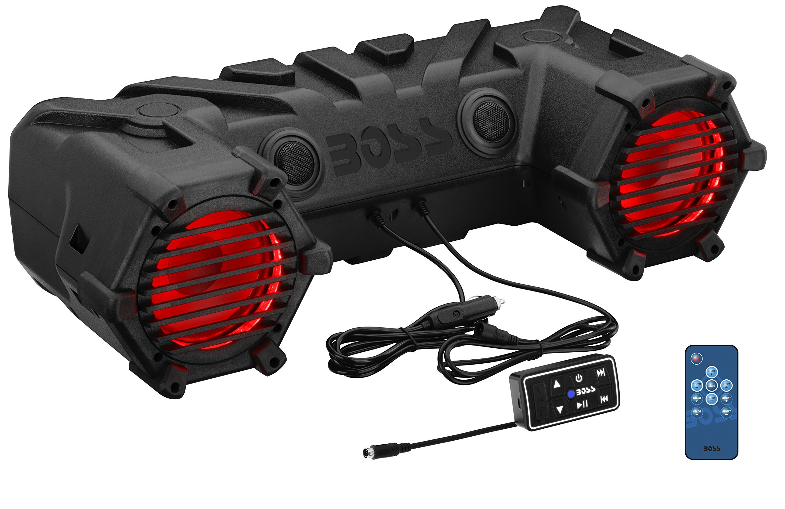 BOSS Audio ATV30BRGB Bluetooth, Amplified,  Multi-Color Illumination, ATV/UTV Sound System, Weather-Proof Marine Grade, Bluetooth Remote, 12 Volt Application Friendly