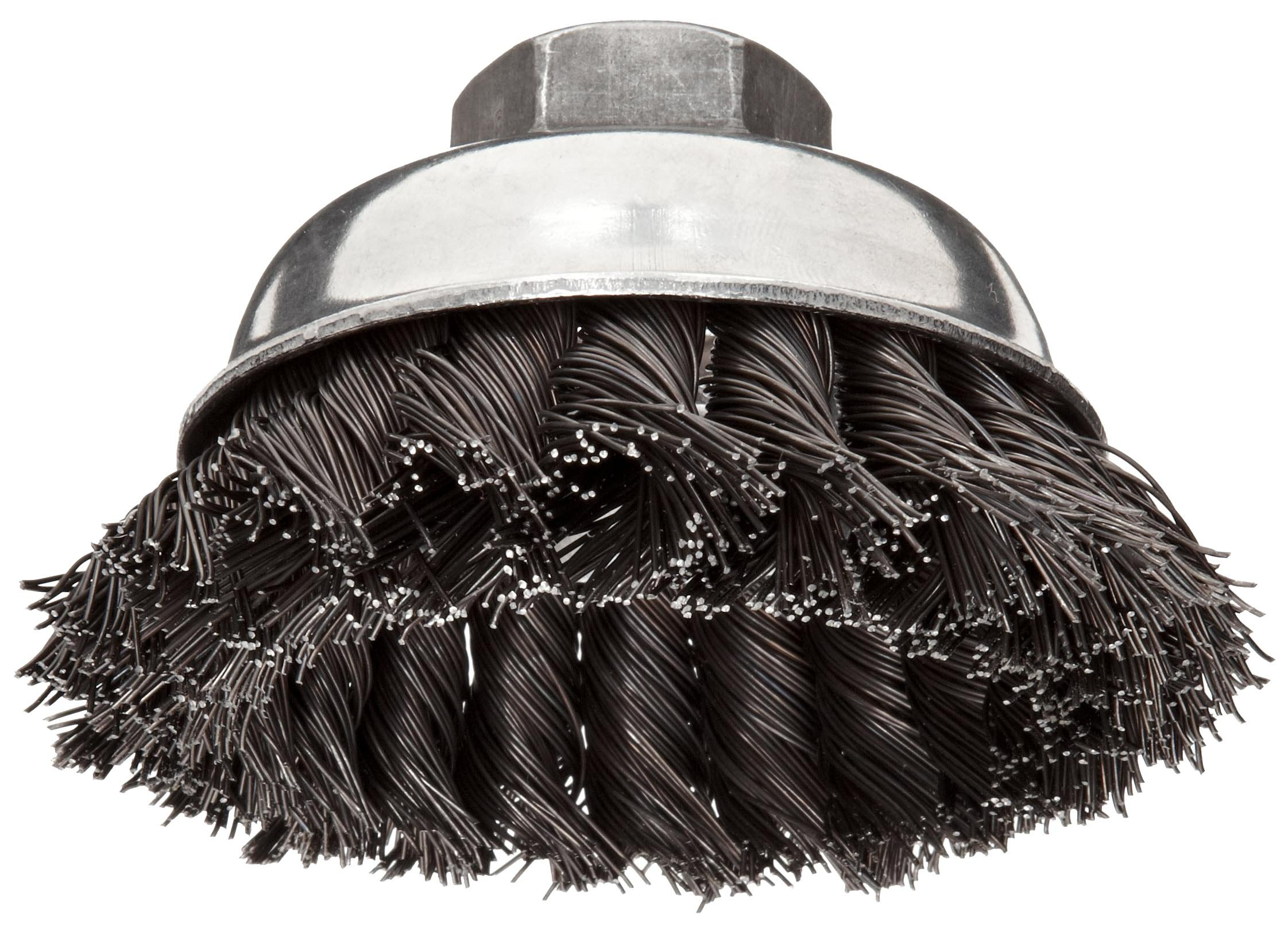 Weiler Vortex Pro Wire Cup Brush, Threaded Hole, Carbon Steel, Partial Twist Knotted, 3-1/2'' Diameter, 0.02'' Wire Diameter, 5/8''-11 Arbor, 13000 rpm (Pack of 1)