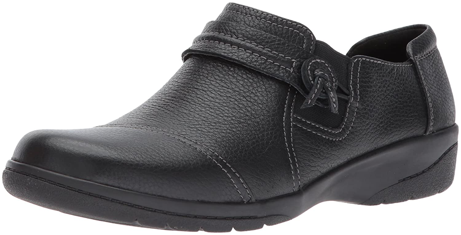 CLARKS Women's Cheyn Madi Loafer B01N4IZQGZ 7 W US|Black Tumbled Leather