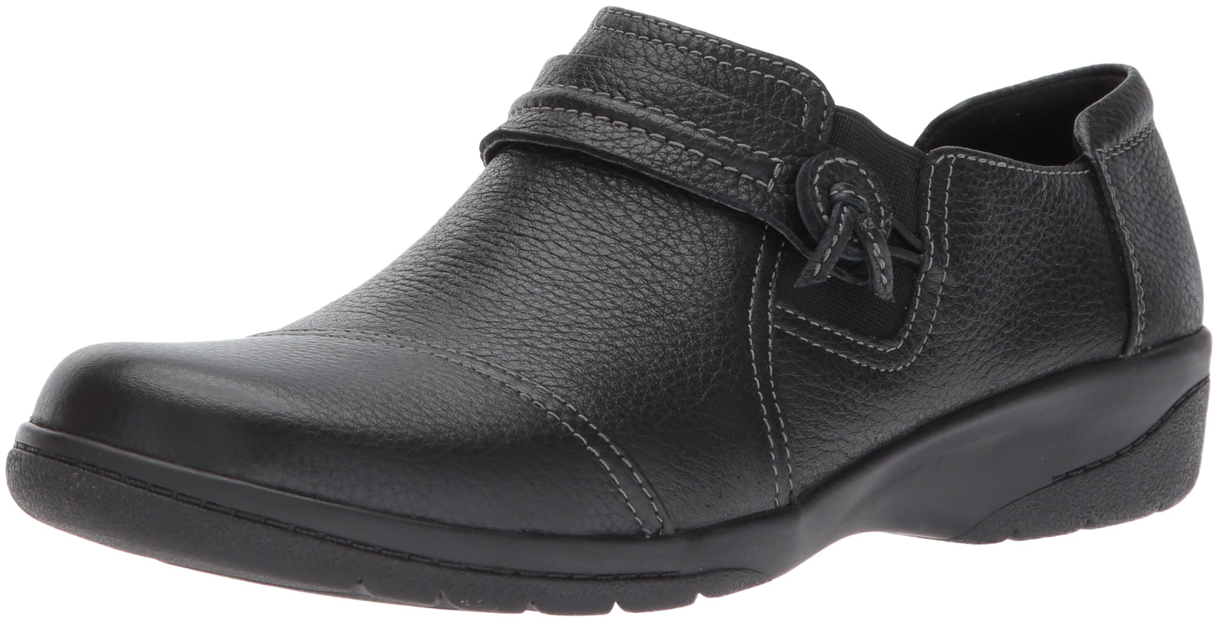CLARKS Women's Cheyn Madi Loafer, Black Tumbled Leather, 10 W US by CLARKS