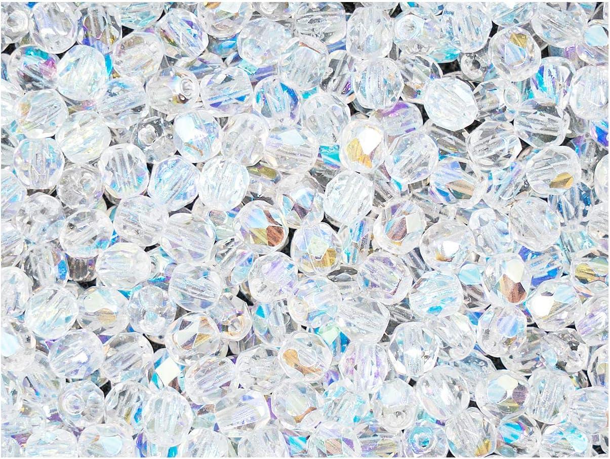 100 piezas, 4 mm, Cuentas de vidrio facetado redondas checo, Fire-Polished, Crystal AB
