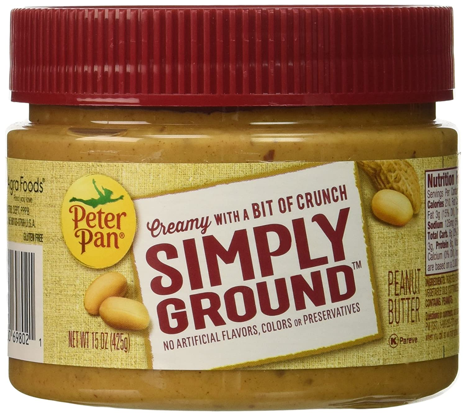 amazon com peter pan simply ground peanut butter honey roasted