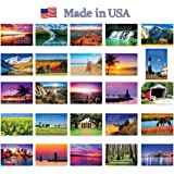 AMERICA THE BEAUTIFUL postcard set. 50 modern post cards variety pack. These postcards depict all fifty states of the United States of America. Made in USA.