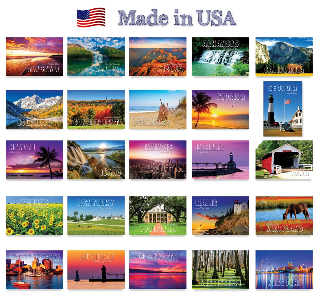 AMERICA THE BEAUTIFUL postcard set. 50 modern post cards variety pack. These postcards depict all fifty states of the United States of America. Made in USA. by Postcard Fair