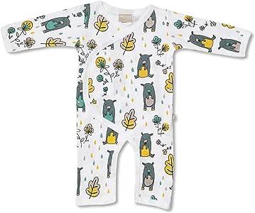 Babyushka Grey Bear Organic Long Sleeve Kimono Jumpsuit, Newborn (0000)